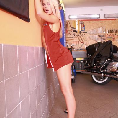 sabrina blond biker